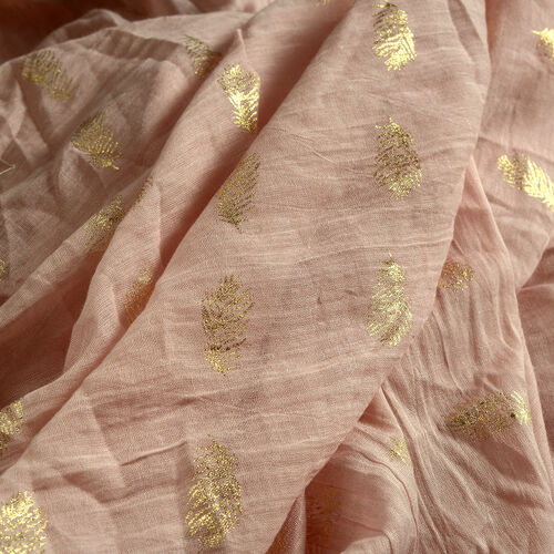 100% Cotton Golden Colour Leaves Pattern Foil and Light Pink Colour Scarf (Size 180x100 Cm)