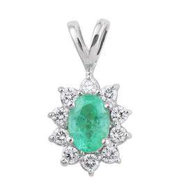 ILIANA 18K White Gold AAA Boyaca Colombian Emerald (Ovl), Diamond (SI/G-H) Pendant 1.000 Ct.