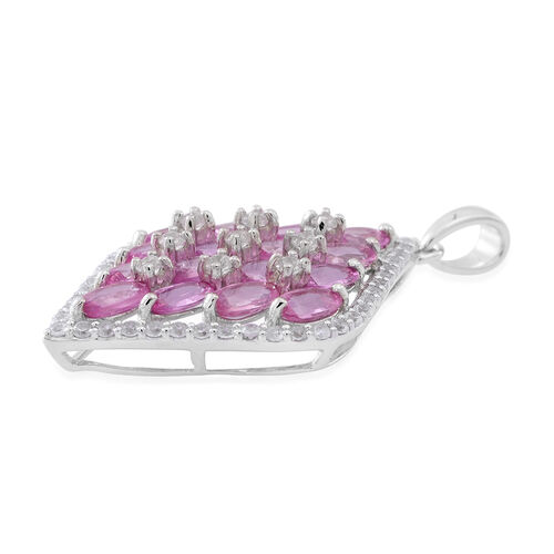 9K White Gold AAA Pink Sapphire (Ovl), Natural White Cambodian Zircon Pendant 6.350 Ct.Gold Wt 3.50 Gms