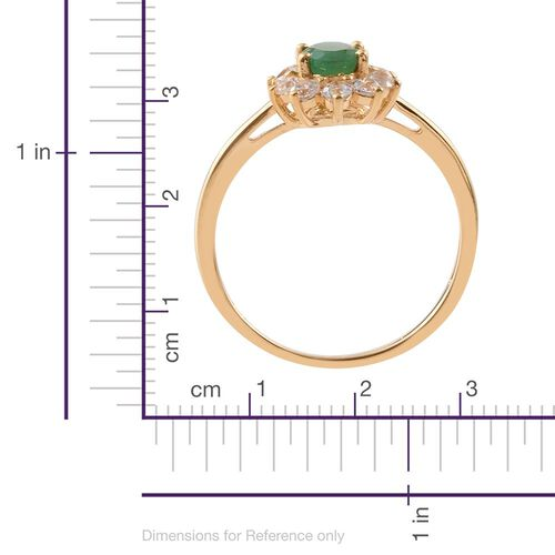 AAA Brazilian Emerald (Ovl 0.75 Ct), Natural Cambodian Zircon Ring in 14K Gold Overlay Sterling Silver 1.750 Ct.