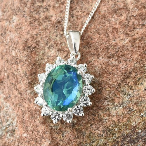 Peacock Quartz (Ovl 2.90 Ct), Natural Cambodian Zircon Pendant with Chain in Sterling Silver 3.750 Ct.