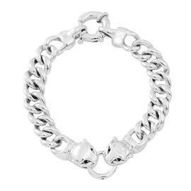 Exclusive Edition-Vicenza Collection-Sterling Silver Leopard Head Linked Curb Bracelet (Size 8), Silver wt. 18.30 Gms.