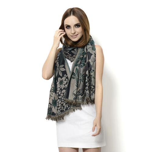 Multi Colour Floral Pattern Green Colour Scarf (Size 180x65 Cm)
