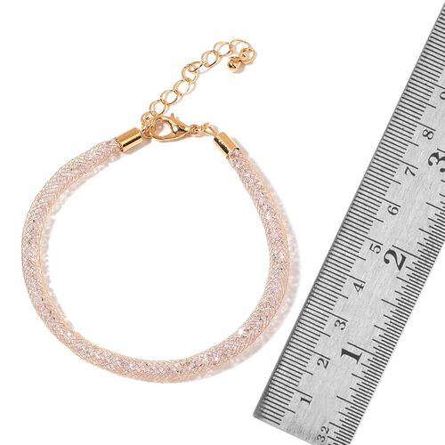 White Austrian Crystal Bracelet (Size 7 with 2 inch Extender) in Gold Tone
