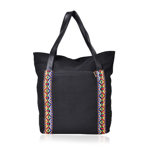 Shanghai Collection- Yellow, Black and Multi Colour Dragon Embroidered Tote Bag (Size 41.5x33.5x15 Cm)