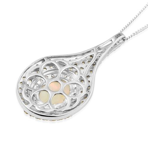 Designer Inspired-Rare Size Ethiopian Welo Opal (Ovl 10x8 mm), Yellow Sapphire and Natural Cambodian Zircon Drop Pendant with Chain in Platinum Overlay Sterling Silver 3.500 Ct.