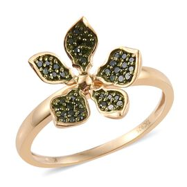 Kimberley Forget Me Not Collection - Green Diamond (Rnd) Floral Ring in 14K Gold Overlay Sterling Silver 0.250 Ct.