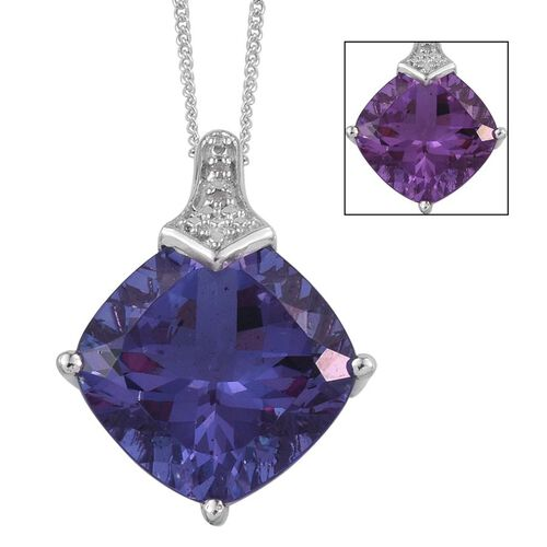 Lavender Alexite (Cush 7.75 Ct), Diamond Pendant With Chain in Platinum Overlay Sterling Silver 7.760 Ct.