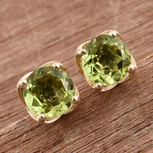 9K Yellow Gold 1.50 Ct AAA Hebei Peridot Solitaire Stud Earrings (with Push Back)