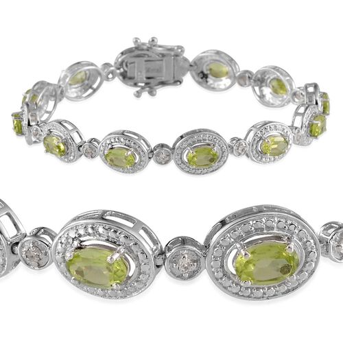 Hebei Peridot (Ovl), White Topaz Bracelet in Platinum Overlay Sterling Silver (Size 7) 7.250 Ct.