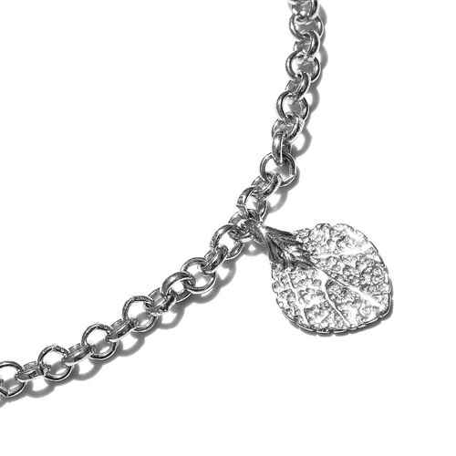 New Arrival - Rhodium Plated Sterling Silver Leaf Charm Bracelet (Size 7.5 with Half inch Extender), Silver wt. 5.96 Gms.