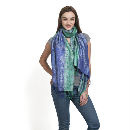 SILK MARK- 100% Superfine Silk Green and Blue Colour Jacquard Jamawar Scarf with Fringes (Size 190x70 Cm)