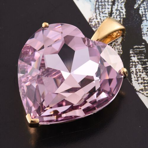 J Francis Crystal from Swarovski - Rose De France Colour Crystal (Hrt) Pendant in 14K Gold Overlay Sterling Silver