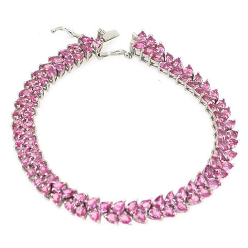 AAA Pink Sapphire (Pear) Bracelet in Rhodium Plated Sterling Silver (Size 7.5) 15.000 Ct.