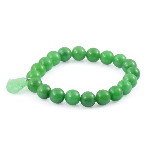 Limited Edition - AAA Green Jade Hand Carved Laughing Buddha Charm Ball Beads Stretchable Bracelet (Size 7) in Rhodium Plated Sterling Silver 187.500 Ct.