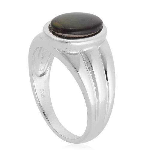 Canadian Ammolite (Ovl 1.90 Ct) Solitaire Ring in Rhodium Plated Sterling Silver 1.900 Ct.