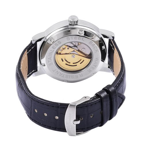GENOA Automatic Skeleton Black and Rose Dial Water Resistant Watch in Silver Tone with Glass Back and Black Colour Leather Strap