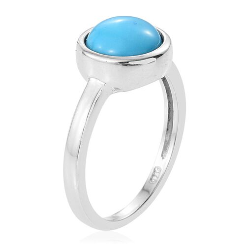 Arizona Sleeping Beauty Turquoise (Rnd) Solitaire Ring in Platinum Overlay Sterling Silver 1.500 Ct.