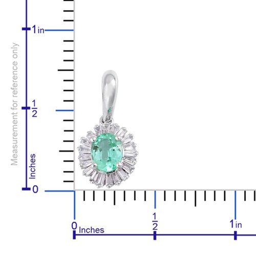 ILIANA 18K White Gold 0.55 Ct. AAA Boyaca Colombian Emerald Halo Pendant with Diamond SI G-H