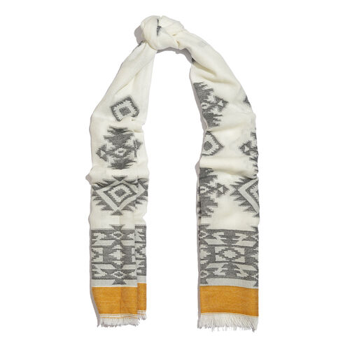 Designer Inspired- White, Grey and Mustard Colour Rhombus Pattern Scarf with Fringes (Size 180X70 Cm)
