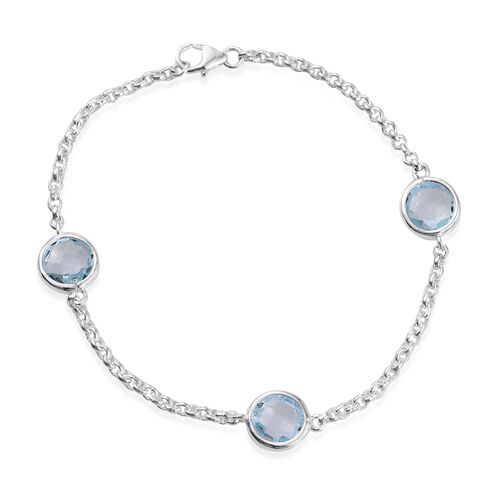 Sky Blue Topaz (Rnd) Trilogy Bracelet (Size 7.5) in Sterling Silver 6.000 Ct.