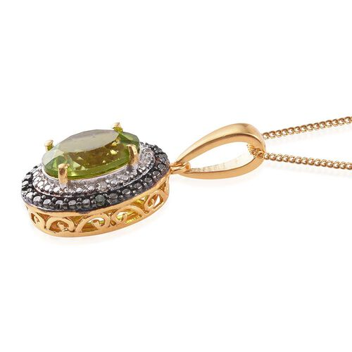 Limited Edition Design - AAA Hebei Peridot (Ovl), Green and White Diamond Pendant With Chain in Platinum and Yellow Gold Overlay Sterling Silver 3.750 Ct.