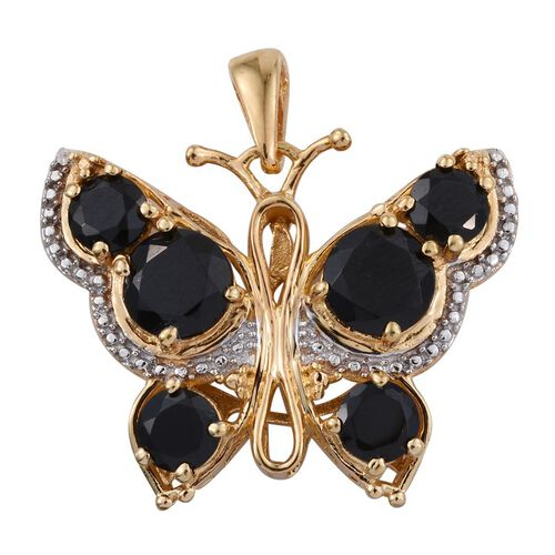 Boi Ploi Black Spinel (Rnd) Butterfly Pendant in ION Plated 18K Yellow Gold Bond 6.000 Ct.