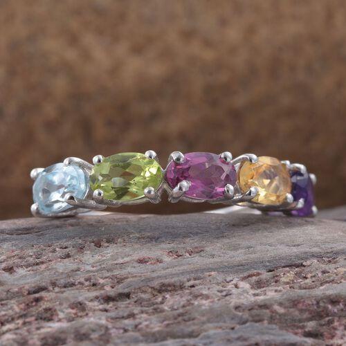 Rhodolite Garnet (Ovl), Hebei Peridot, Citrine, Amethyst and Sky Blue Topaz Ring in Platinum Overlay Sterling Silver 2.500 Ct.