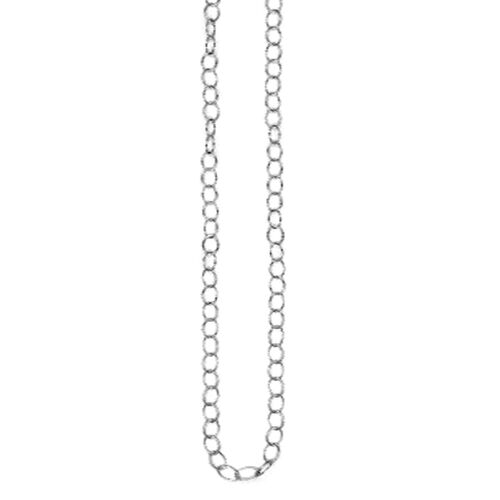 Vicenza Collection Rhodium Plated Sterling Silver Oval Link Chain (Size 24), Silver wt 5.33 Gms.
