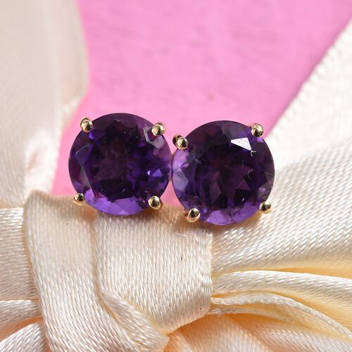 AA Amethyst Stud Earrings (with Push Back) in 9K Gold  3.70 Ct.