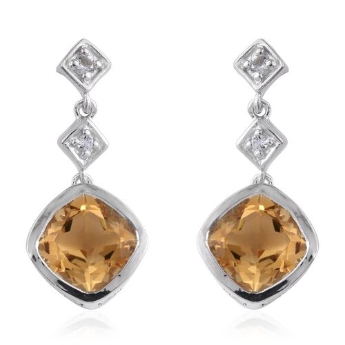 Citrine (Cush), White Topaz Earrings (with Push Back) in Platinum Overlay Sterling Silver 4.000 Ct.