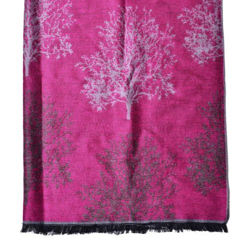 Tree Pattern Grey and Fuchsia Colour Double Sided Scarf (Size 180x70 Cm)