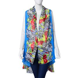 Rose Red, Green, Black and Multi Colour Floral Pattern Blue Colour Poncho (Free Size)