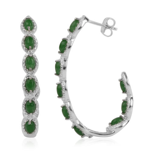 2.96 Ct Green Jade and Natural Cambodian Zircon J Hoop Earrings in Platinum Plated Silver 9.66 gms