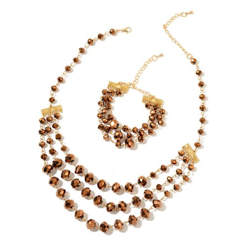 Simulated Smoky Quartz Triple Strand Necklace (Size 19 with 3 inch Extender) and Bracelet (Size 7.5 with 2.5 inch Extender) in Yellow Gold Tone