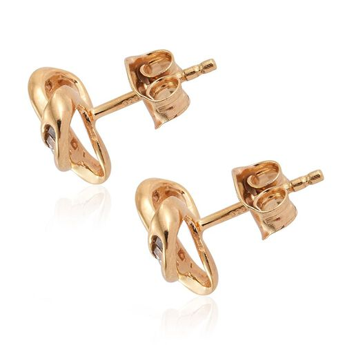 Natural Champagne Diamond (Bgt) Triple Knot Stud Earrings (with Push Back) in 14K Gold Overlay Sterling Silver 0.250 Ct.