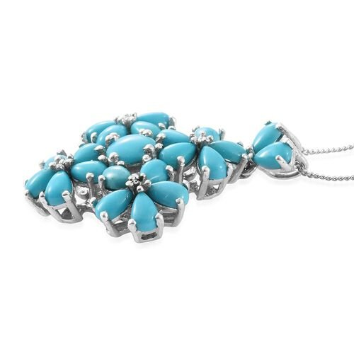 Arizona Sleeping Beauty Turquoise (Rnd 0.90 Ct) Floral Pendant With Chain in Platinum Overlay Sterling Silver 4.900 Ct.