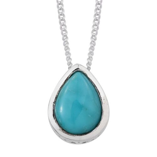 Arizona Sleeping Beauty Turquoise (Pear) Solitaire Pendant with Chain in Platinum Overlay Sterling Silver 0.750 Ct.