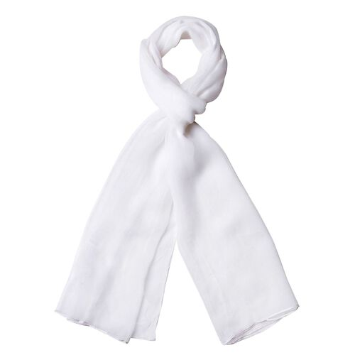 End Of Season Deal-100% Mulberry Silk White Colour Scarf (Size 170X60 Cm)