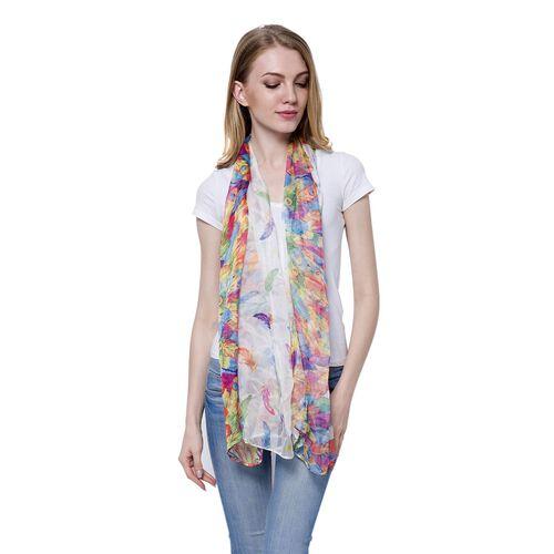 Multi Colour Plume Pattern White Colour Scarf (Size 170 x70 Cm)