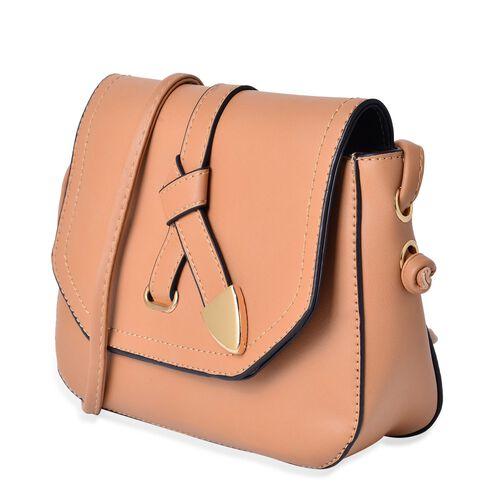 Beige Colour Crossbody Bag with Shoulder Strap (Size 21.5x17x6.5 Cm)