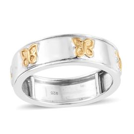 Designer Inspired-Yellow Gold and Rhodium Plated Sterling Silver Butterfly Spinner Ring, Silver wt. 5.09 Gms.