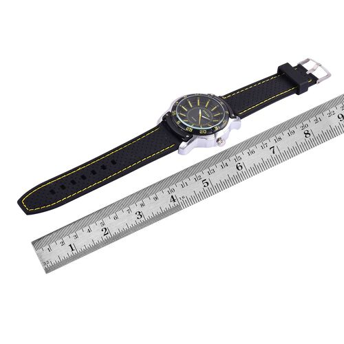 STRADA Japanese Movement Black and Yellow Dial Water Resistant Watch in Silver Tone with Stainless Back and Black Silicone Strap