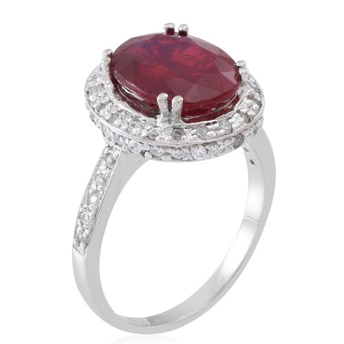 AAA African Ruby (Ovl 6.50 Ct), Natural Cambodian White Zircon Ring in Rhodium Plated Sterling Silver 7.500 Ct.