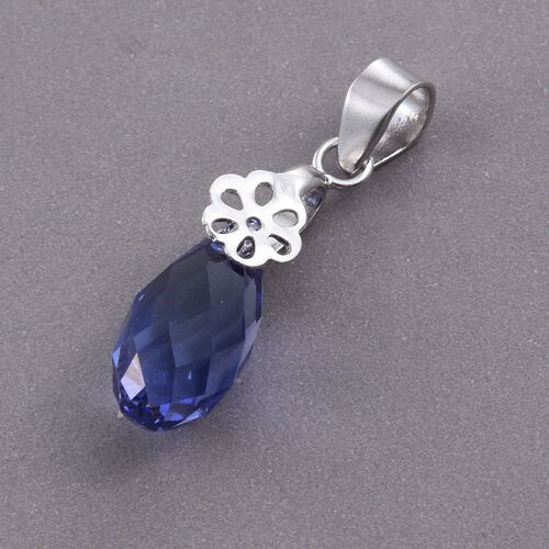 J Francis Crystal from Swarovski - Tanzanite Colour Crystal Drop Pendant in Platinum Overlay Sterling Silver