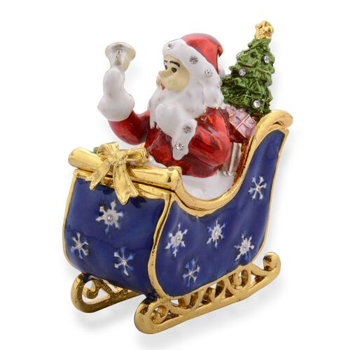 AAA White Austrian Crystal Studded Multi Colour Enameled Santa in Sleigh Car with Christmas Tree Jewellery Box in Gold Tone