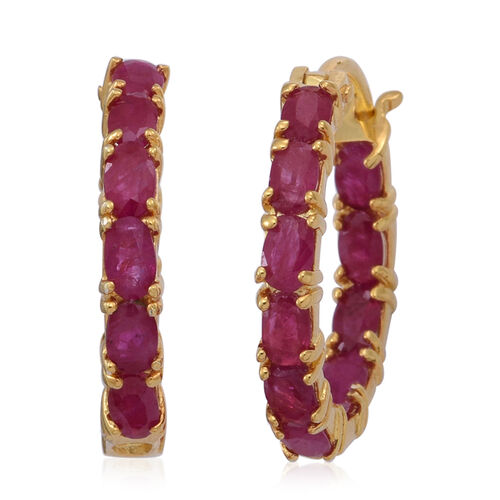 Burmese Ruby (Ovl) Hoop Earrings (with Clasp) in 14K Gold Overlay Sterling Silver 5.000 Ct.