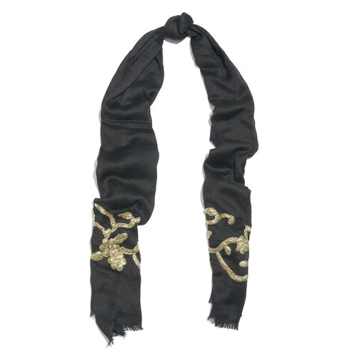 Hand Embellished Golden Sequin Black Scarf (Size 180X70 Cm)
