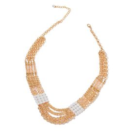 Simulated Pearl and Champagne Colour Seed Beads Necklace (Size 23 with Extender) in Yellow Gold Tone