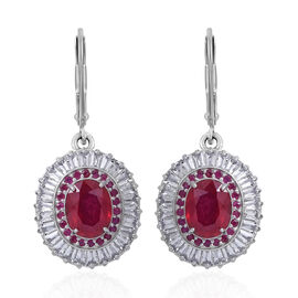 African Ruby (Ovl), White Topaz and Burmese Ruby Lever Back Earrings in Rhodium Plated Sterling Silver 12.130 Ct. Silver wt 5.50 Gms.